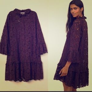 H&M Lace Fully Lined Burgundy Dress sz S
